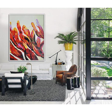 Vertical Abstract Flower Art #X35B-Abstract Art-CZ Art Design(Celine Ziang Art)