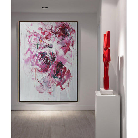 Vertical Abstract Flower Oil Painting #LX77B-Abstract Art-CZ Art Design(Celine Ziang Art)