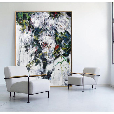 Vertical Abstract Flower Oil Painting #LX78B-Abstract Art-CZ Art Design(Celine Ziang Art)