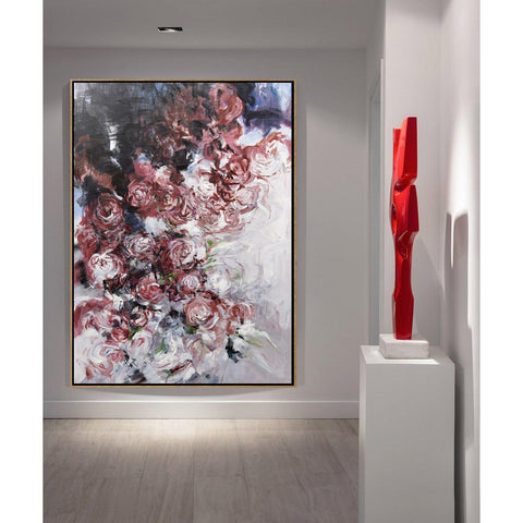 Vertical Abstract Flower Oil Painting #LX80B-Abstract Art-CZ Art Design(Celine Ziang Art)