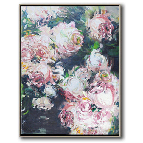 Vertical Abstract Flower Oil Painting #LX88B-Abstract Art-CZ Art Design(Celine Ziang Art)