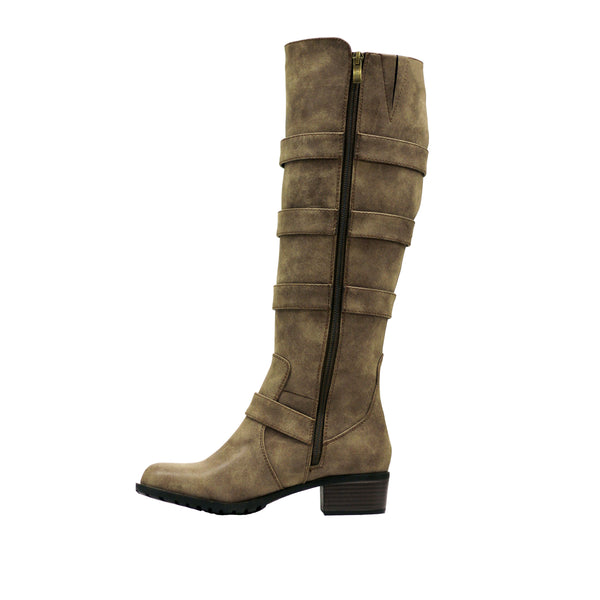Brooklyn Vintage Brown Extra Wide Calf Riding Boot