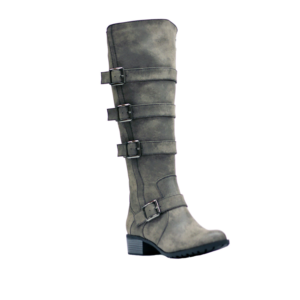 Brooklyn Rustic Smoke Extra Wide Calf Riding Boots