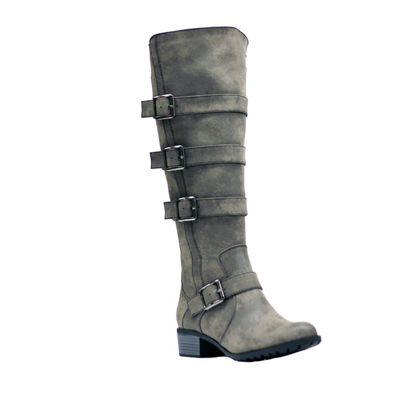 Intaglia Brooklyn Rustic Smoke Extra Wide Calf Riding Boots
