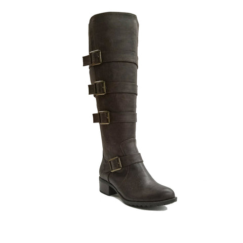 Intaglia Brooklyn Chocolate Tumble Extra Wide Calf Riding Boot