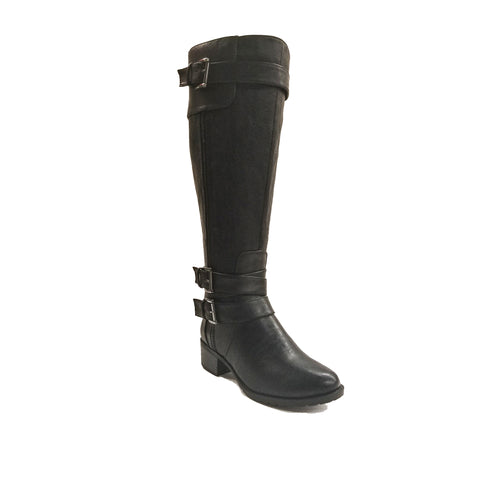 Monaco Black Extra Wide Calf Riding Boot