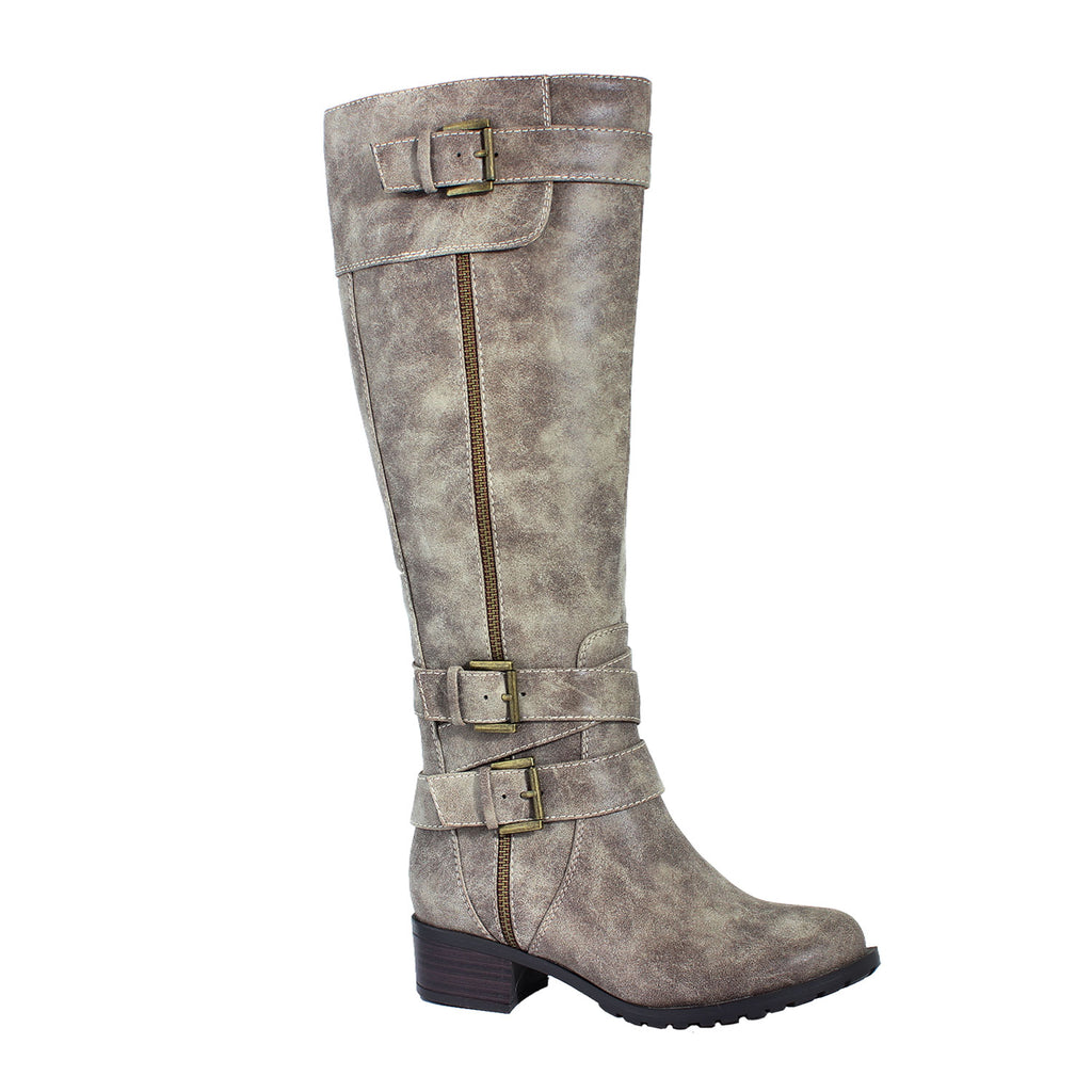 Monaco Vintage Stone Extra Wide Calf Riding Boot