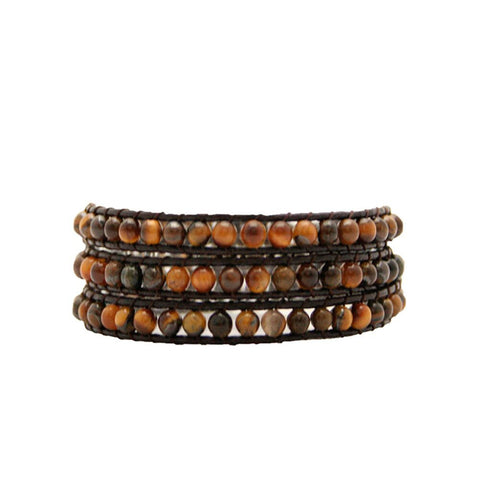 Tiger Eye Stone Wrap Bracelet On Chocolate Leather