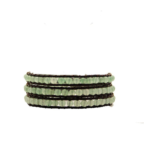 Jade Stone Wrap Bracelet On Chocolate Leather