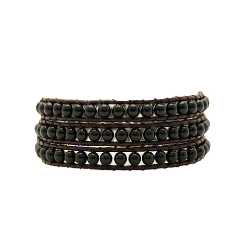 Black Onyx Wrap Bracelet On Chocolate Leather