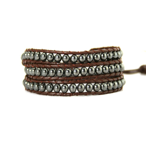 Hematite Metal Wrap Bracelet On Chocolate Leather