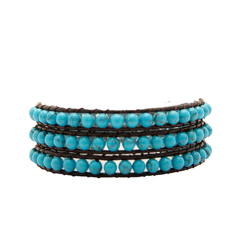Blue Turquoise Wrap Bracelet on Chocolate Leather