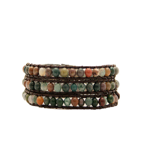 Earth Multi Wrap Bracelet On Chocolate Leather