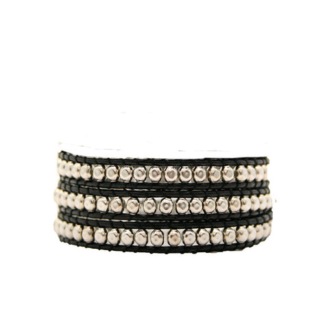 Hammered Pewter Wrap Bracelet on Black Leather