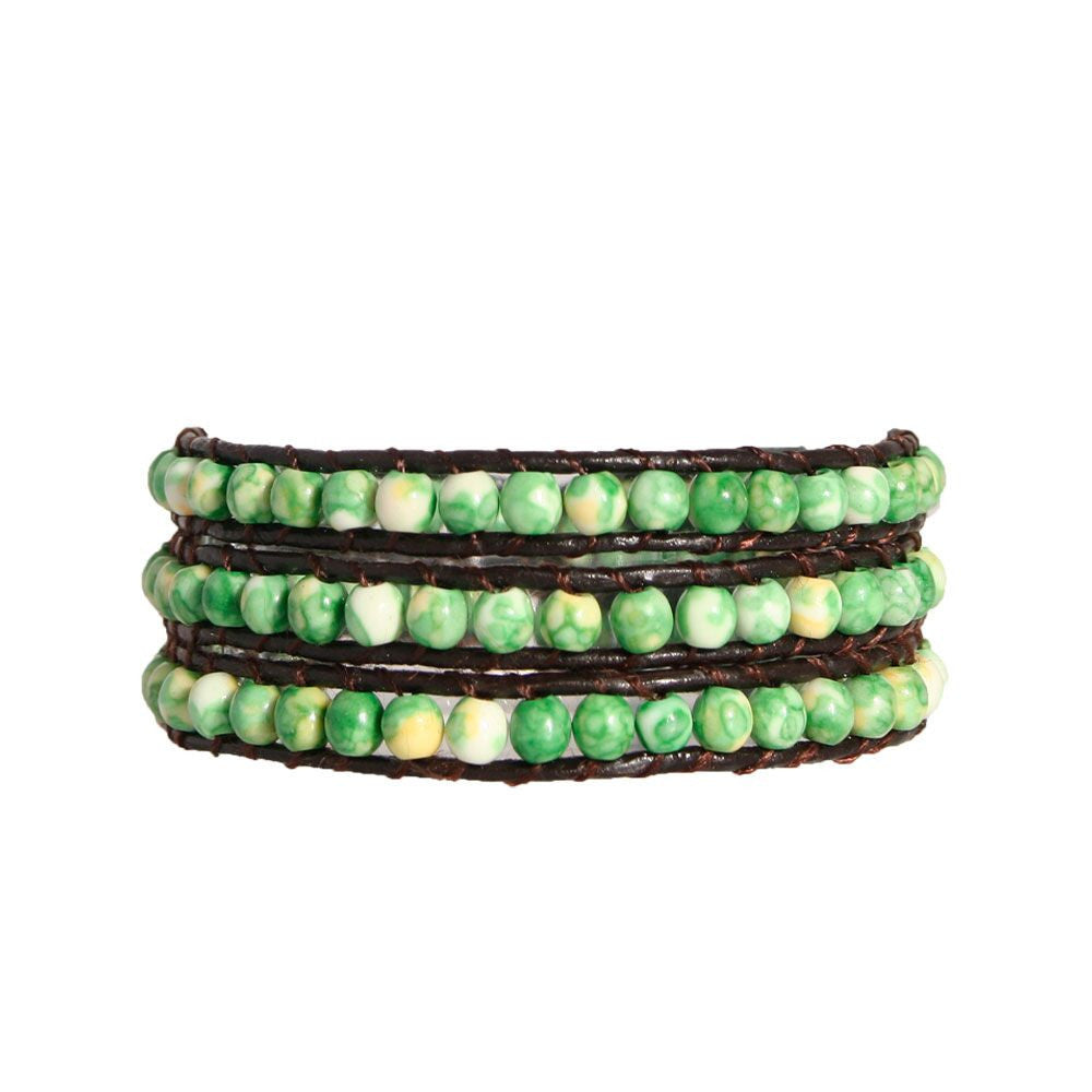 Green Marble Wrap Bracelet On Chocolate Leather