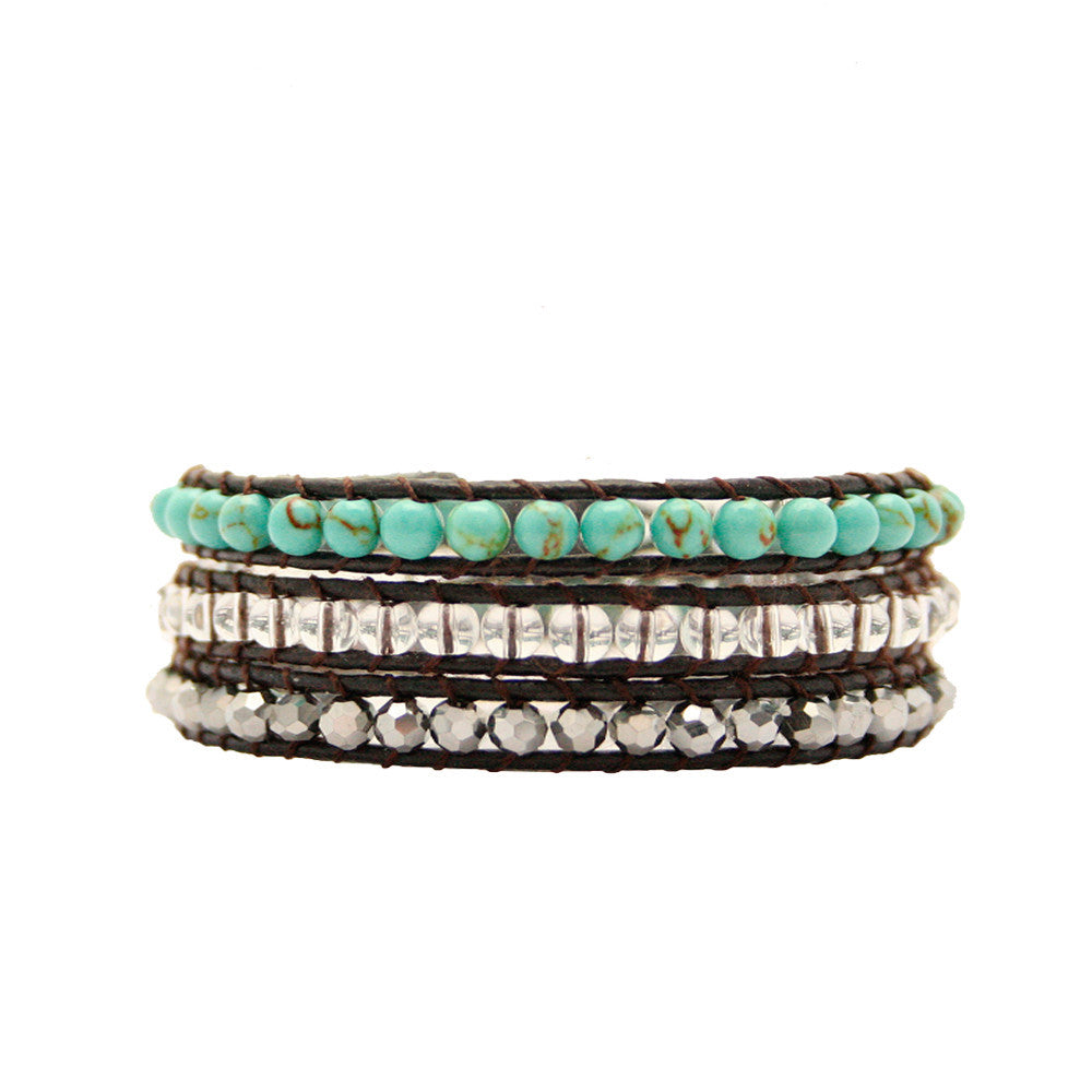 Turquoise , Silver Crystal & Clear Wrap Bracelet On Chocolate Leather