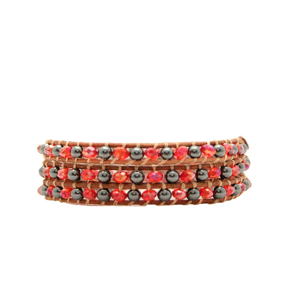 Red Crystal & Metal Wrap Bracelet On Chocolate Leather