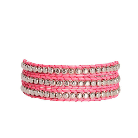 Hammered Pewter Wrap Bracelet On Pink Leather