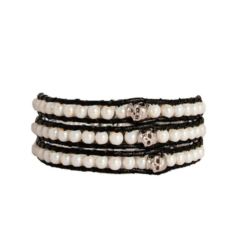 Pearl & Pewter Skull Wrap Bracelet On Black Leather