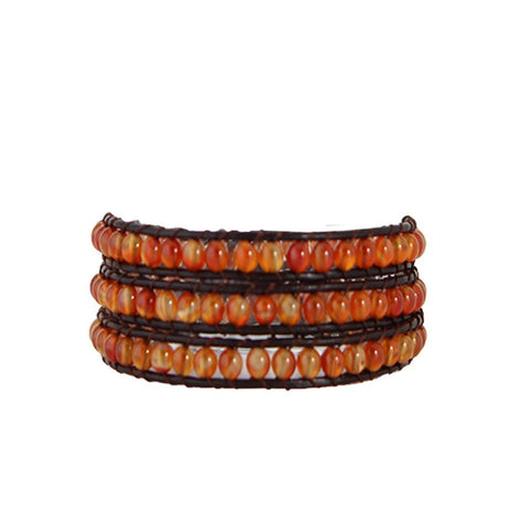 Fire Stone Wrap Bracelet on Chocolate Leather