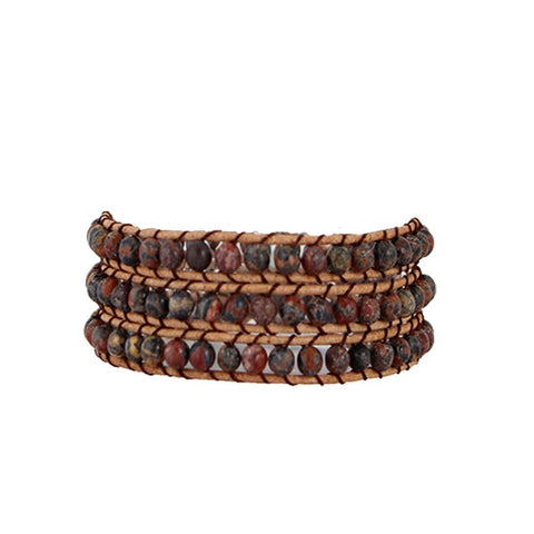 Earth Stone Wrap Bracelet On Natural Leather