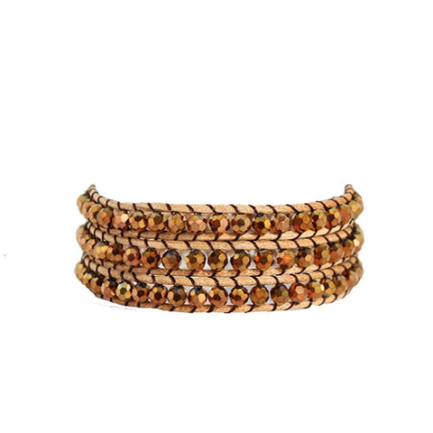 Bronze Crystal Wrap Bracelet On Natural Leather
