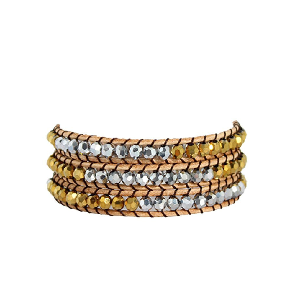 Silver & Gold Crystal Wrap Bracelet on Natural Leather