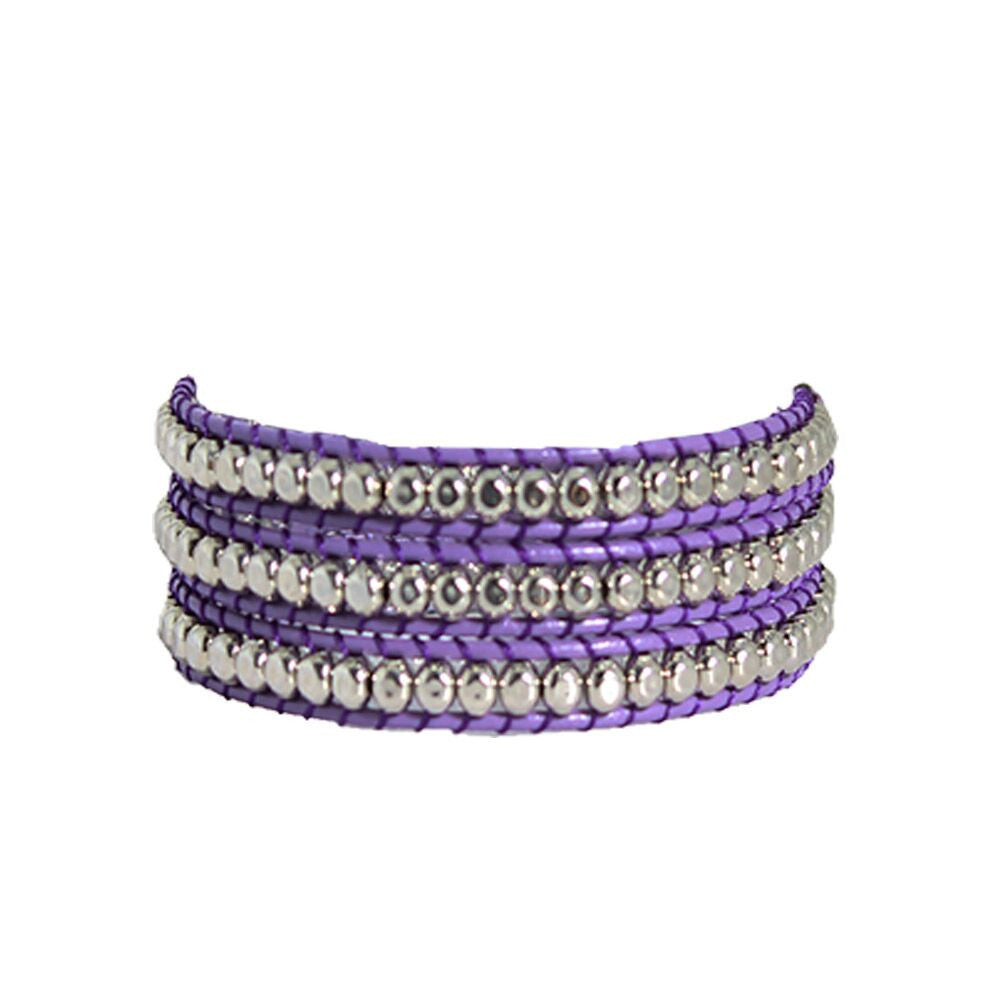Hammered Pewter Wrap Bracelet on Purple Leather