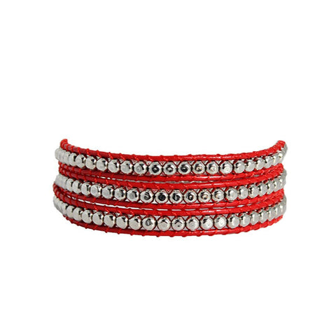 Hammered Pewter Wrap Bracelet On Red Leather
