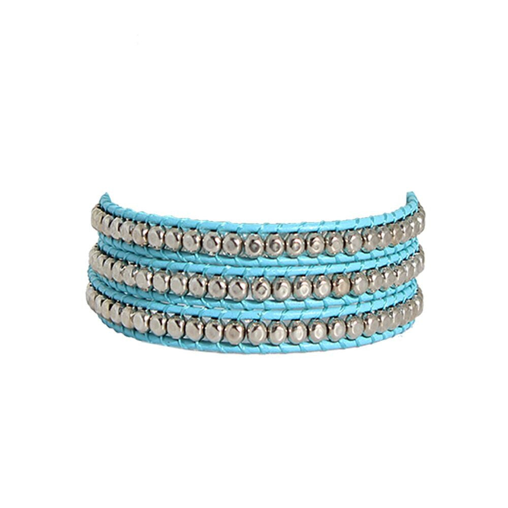 Hammered Pewter Wrap Bracelet On Teal Leather