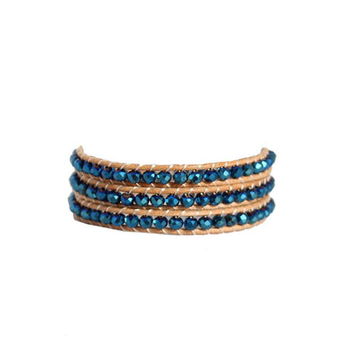Cobalt Crystal Wrap Bracelet On Natural Leather