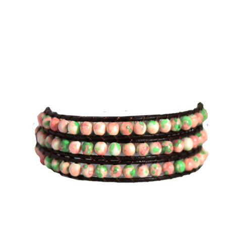 Coral Mint Marble Stone Wrap Bracelet on Chocolate Leather