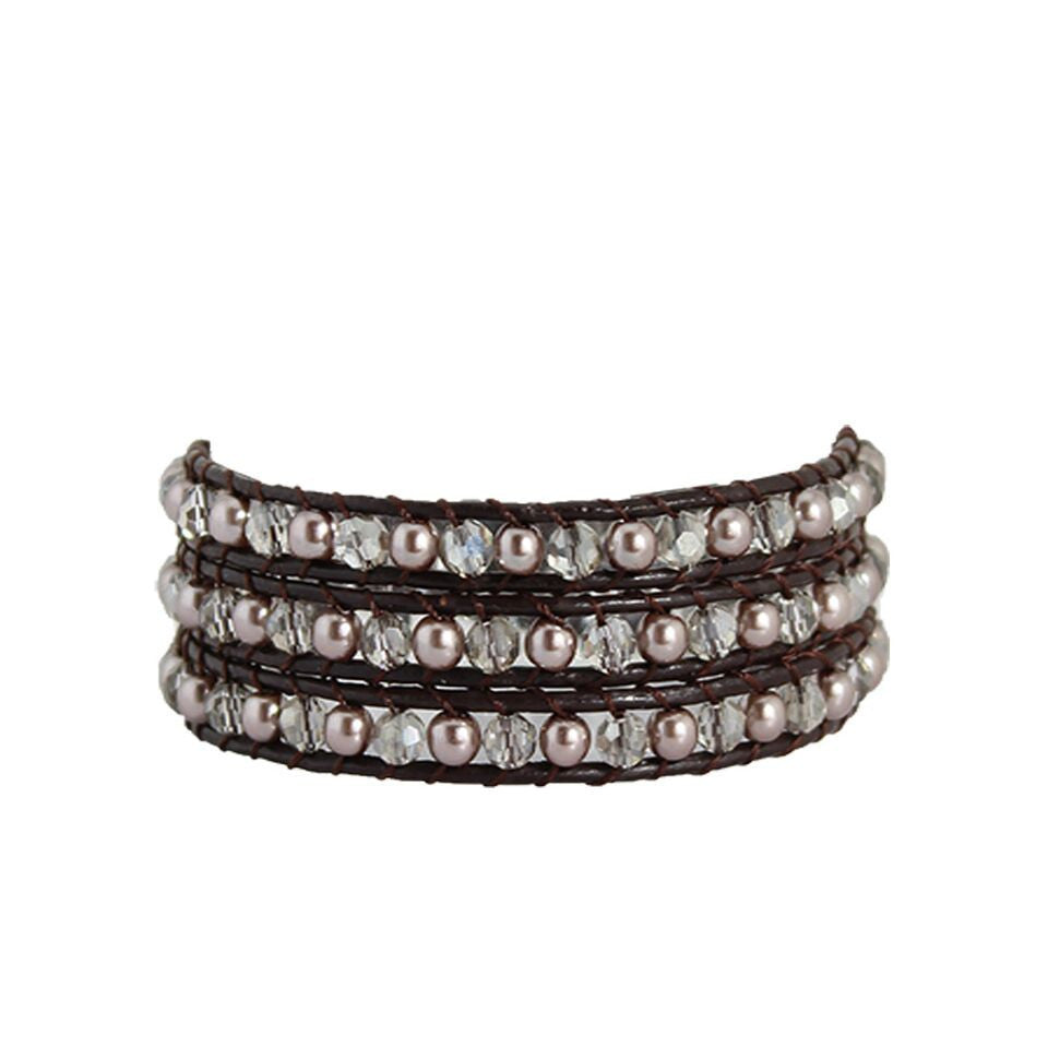 Smoke Stone & Metal Wrap Bracelet On Chocolate Leather