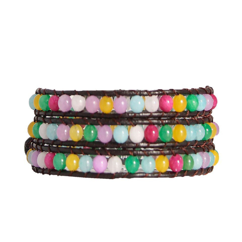 Pastel Multi Stone Wrap Bracelet On Chocolate Leather