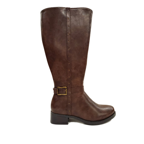 Vellejo Brown Wide Calf Riding Boot