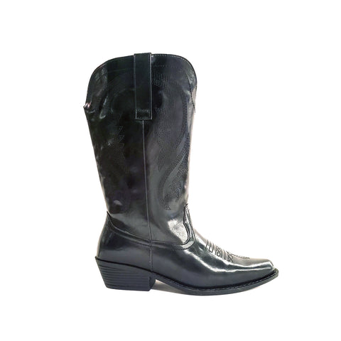 Benicia Black Wide Calf Western Boot