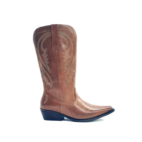 Benecia Tan Wide Calf Western Boot