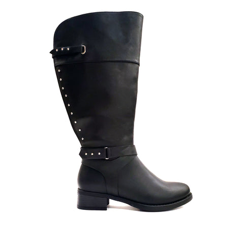 Huron Black Wide Calf Riding Boot