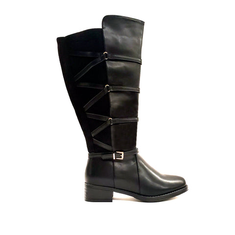 Amador Black Extra Wide Calf Riding Boot