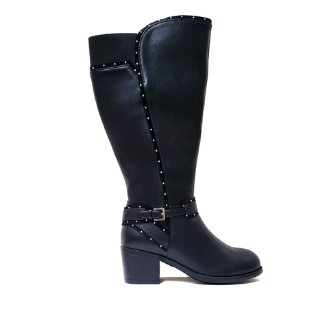 Monson Black Extra Wide Calf Riding Boot