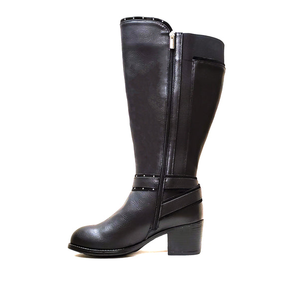 Monson Black Wide Calf Riding Boot