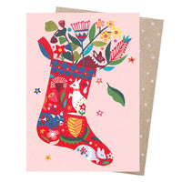 Christmas Card – Folk Stocking - Card - Throw Some Seeds - Australian gardening gifts and eco products online!