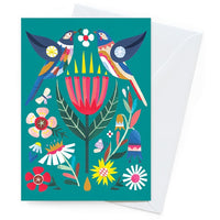 Andrea Smith Card – Wattlebird & Wildflowers - Card - Throw Some Seeds - Australian gardening gifts and eco products online!