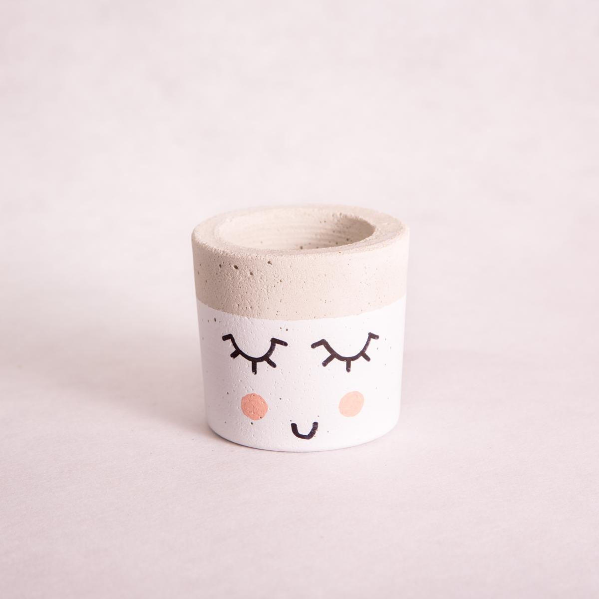 Mini Tub Concrete Planter - Cute Face - Concrete Planter - Throw Some Seeds - Australian gardening gifts and eco products online!