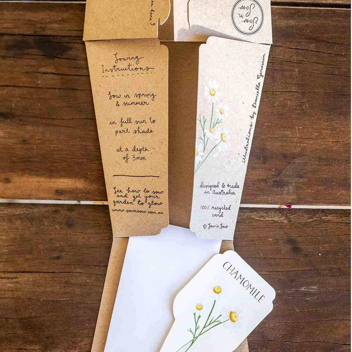 Sow 'n Sow Gift Card with Seeds - Chamomile - Gift of Seeds - Throw Some Seeds - Australian gardening gifts and eco products online!