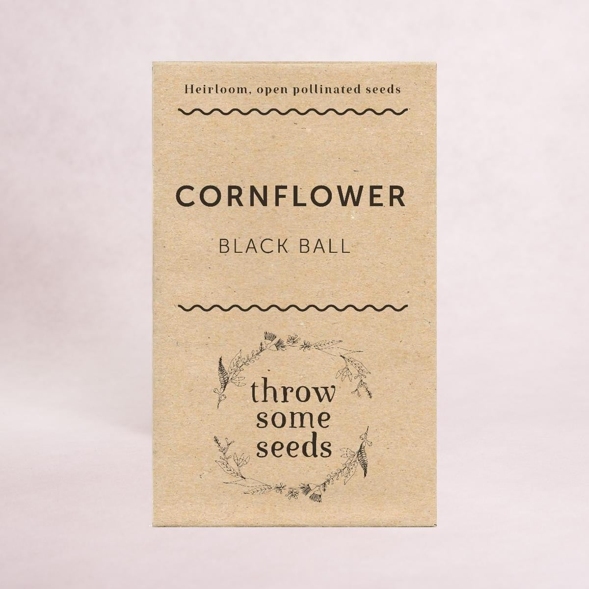 Cornflower (Black Ball) - Heirloom Seeds - Throw Some Seeds