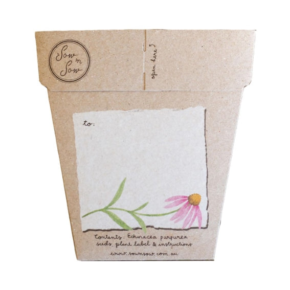 Sow 'n Sow Gift Card with Seeds - Echinacea - Gift of Seeds - Throw Some Seeds - Australian gardening gifts and eco products online!