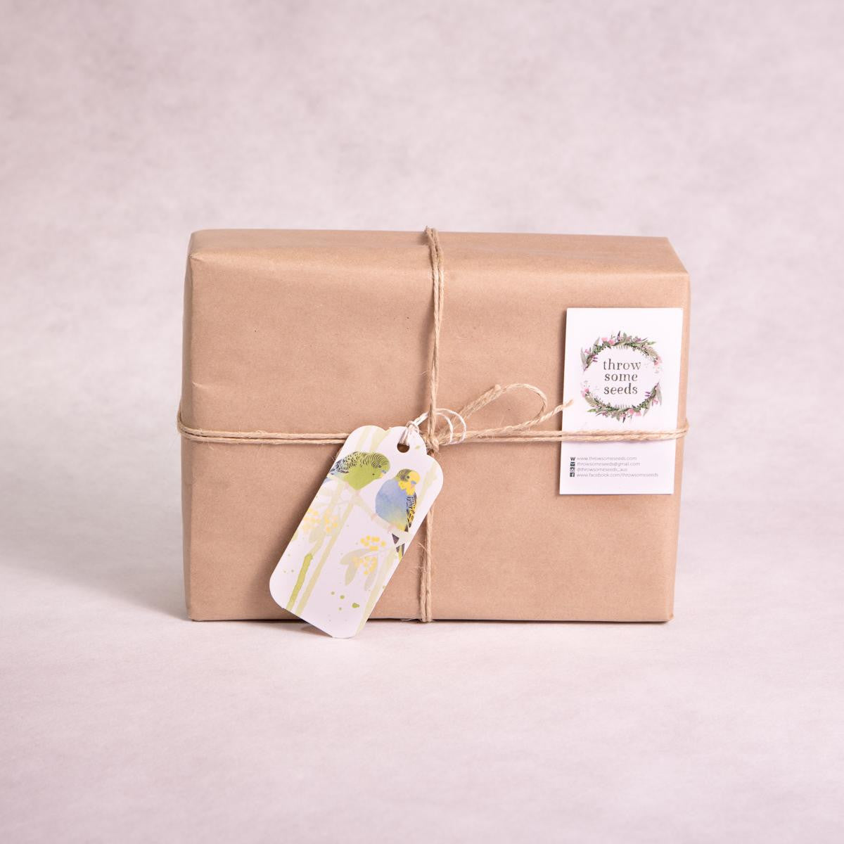 Gift Wrapping - Items will come gift wrapped in beautiful recycled paper and twine. Earth friendly gift tag included. - Gift Wrapping - Throw Some Seeds - Australian gardening gifts and eco products online!