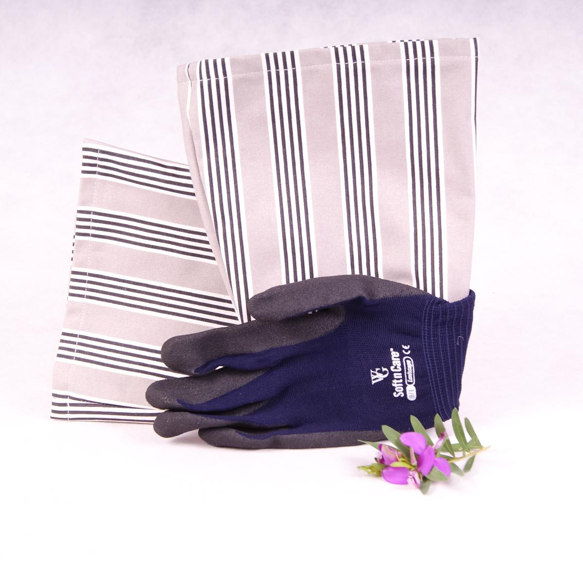 Long sleeve gardening gloves (Large) - Stripes - Gloves - Throw Some Seeds - Australian gardening gifts and eco products online!