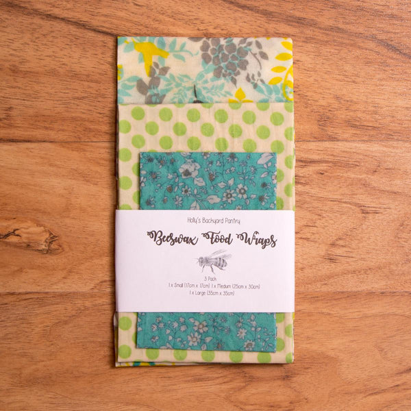 Beeswax Reusable Food Wrap - 3 Pack (all sizes) - Beeswax Wrap - Throw Some Seeds